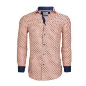 Men's Semi-Slim Fit Polka Dot Long Sleeve